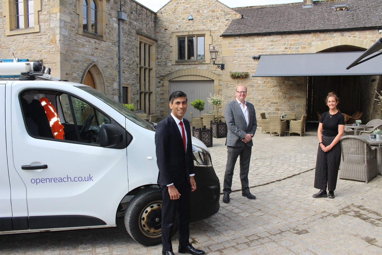 Rishi Sunak MP with Leo Morris, Manager of The Saddle Rooms and Ria Marshall-Rowe, Front of House Manager of The Saddle Rooms